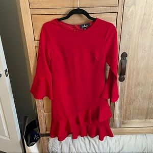 Lulus bell sleeve red dress